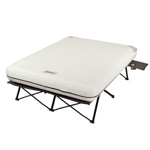 coleman queen airbed cot with side table